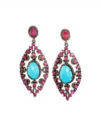 Bavna Composite Ruby Turquoise And Diamond Drop Earrings