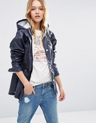Asos Rain Mac In Wax With Nautical Styling Blue