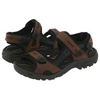 Ecco Sport Yucatan Sandal Bison Black Black Men's Toe Open Shoes Brown