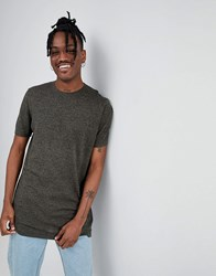 Asos Knitted T Shirt In Khaki Twist Green