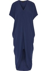 Hatch Riviera Draped Crepe De Chine Dress Storm Blue