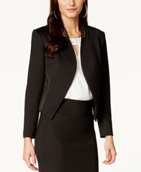 Thalia Sodi Studded Trim Scuba Blazer Only At Macy's Deep Black