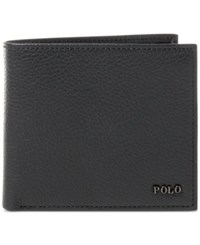 Polo Ralph Lauren Men's Metal Plaque Leather Billfold Black