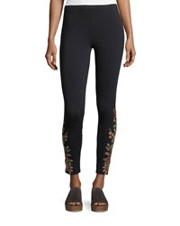 Johnny Was Libbie Embroidered Leggings Plus Size Black