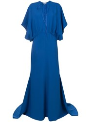 Esteban Cortazar Drape Design Gown Blue