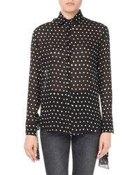 Saint Laurent Lipstick Dot Silk Tie Sleeve Blouse Black White