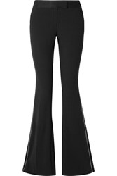 Rachel Zoe Jagger Crystal Embellished Satin Trimmed Crepe Flared Pants Black