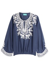 Taj Embellished Silk Top Blue