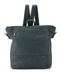 Neiman Marcus Studded Faux Leather Convertible Backpack Teal