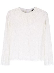 Andrea Bogosian Lace Long Sleeved Top White