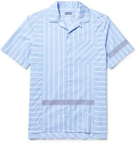 Lanvin Camp Collar Reflective Trimmed Striped Cotton Poplin Shirt Light Blue