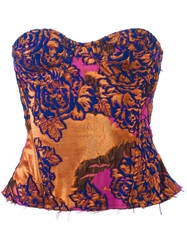 Marques Almeida Floral Brocade Corset Top Blue