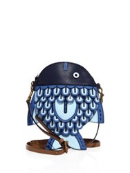 Tory Burch Fish Leather Crossbody Bag Navy