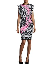 Herve Leger Flutter Sleeve Brushstroke Ikat Bandage Dress Women's