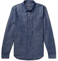 Berluti Leather Trimmed Cotton And Linen Blend Chambray Shirt Blue