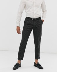 Topman Skinny Smart Trousers In Grey Pin Stripe Black
