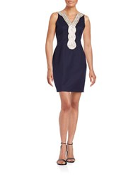 Taylor Metallic Cotton Shift Dress Navy