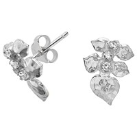 Dower And Hall White Topaz Wild Rose Leaf Stud Earrings Silver