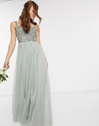 Maya Bridesmaid Sleeveless Square Neck Maxi Tulle Dress With Tonal Delicate Sequin Overlay In Green Lily