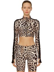 Paco Rabanne Leopard Printed Zip Up Cropped Sweater