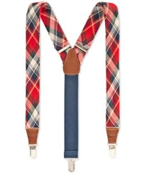 Club Room Men's Plaid Suspenders Only At Macy's Red