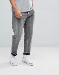 Selected Homme Jeans In Tapered Fit With Cropped Leg Light Grey