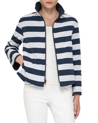 Akris Punto Striped Stand Collar Jacket Navy Cream Navy Cream