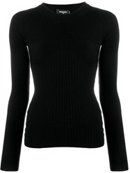 Dsquared2 Ribbed Knit Sweater Black