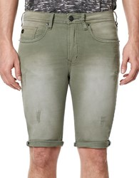 Buffalo David Bitton Parker X Distressed Fold Over Cuff Shorts Green