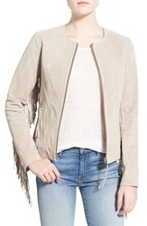 Women's Soia And Kyo Fringed Suede Collarless Jacket