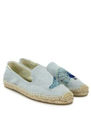 Soludos Peacock Embroidered Espadrilles Chambray