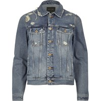 River Island Mens Blue Wash Distressed Western Denim Jacket