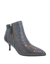 Nina Floralee Point Toe Metallic Leather Booties Black