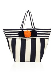 Jadetribe Valerie Striped Beach Pom Pom Tote Orange Pink