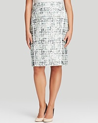 Lafayette 148 New York Plus Sylvana Tweed Pencil Skirt Frosted Mint Multi