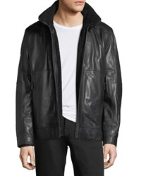 Andrew Marc New York Trail Master Italian Lambskin Leather Jacket Jet Black