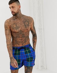 Barbour Tartan Logo Swimshorts In Blue