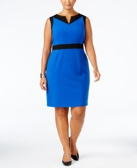 Nine West Plus Size Colorblocked Sheath Dress Blue Mood