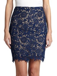 Elle Sasson Helen Lace Pencil Skirt Navy