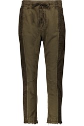 Haider Ackermann Paneled Cotton Jersey Track Pants Dark Green