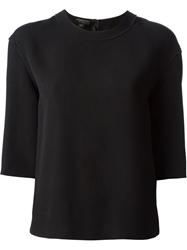Giambattista Valli Boxy Shape Cropped Sweatshirt Black