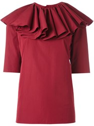 Nina Ricci Ruffled Neck Blouse Red