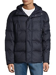 Andrew Marc New York Hilden Plaid Puffer Coat Ink Heather