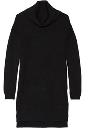 Alice Olivia Chunky Knit Stretch Wool Turtleneck Sweater Dress Charcoal