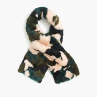 J.Crew Collection Faux Fur Camo Scarf Pink Jade Forest