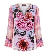 Hale Bob Floral Velvet Top Purple