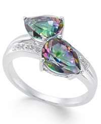 Macy's Mystic Fire Topaz 4 Ct. T.W. And Diamond Accent Ring In 14K White Gold Multi