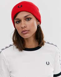 Fred Perry Merino Wool Beanie Red