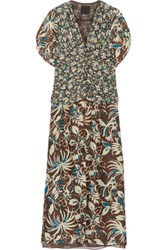 Anna Sui Floral Print Silk Crepe De Chine Maxi Dress Dark Brown