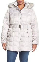 Plus Size Women's Betsey Johnson Belted Coat With Faux Fur Trim Hood